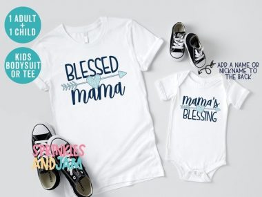 Blessed Mama Mamas Blessing Matching Mom And Me Family Shirts
