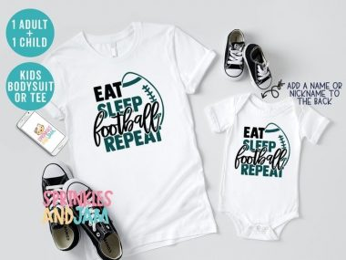Eat Sleep Football Repeat Mommy and Baby Matching Family Shirts
