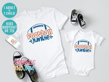 Football Junkie Daddy And Me Matching Family Shirts