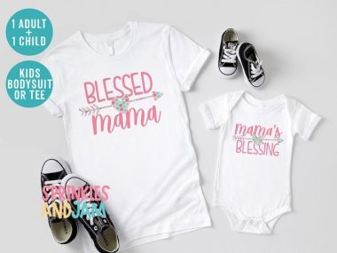 Blessed Mama A Mommy & Me Matching Family T Shirts Set