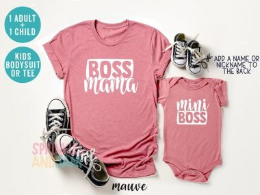Boss Mama Minn Boss mommy and me shirt in pink